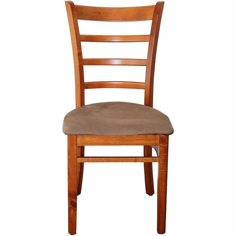 Brogan Commercial Grade Solid Rubberwood Timber Dining Chair with Fabric Seat - Natural