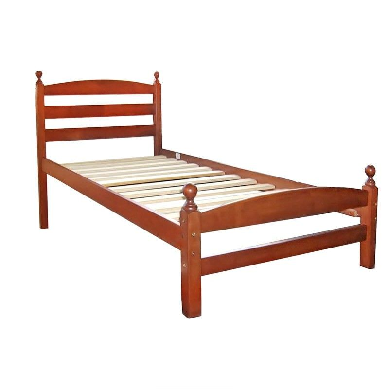 Cosimo Solid Rubberwood Timber Single Bed - Brown