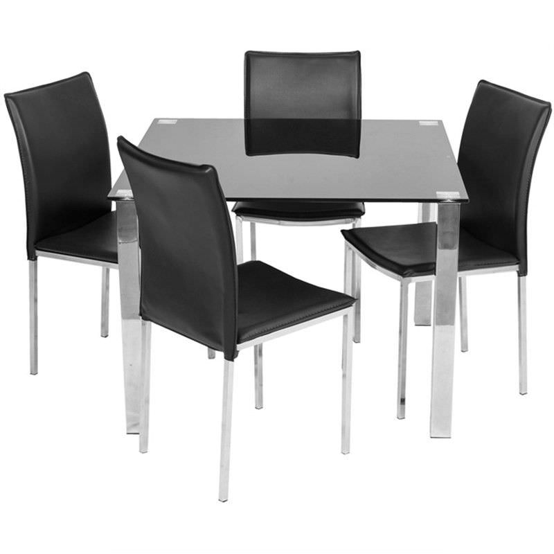 Kimbrell 5 Piece Dining Set with Black Bali Chairs