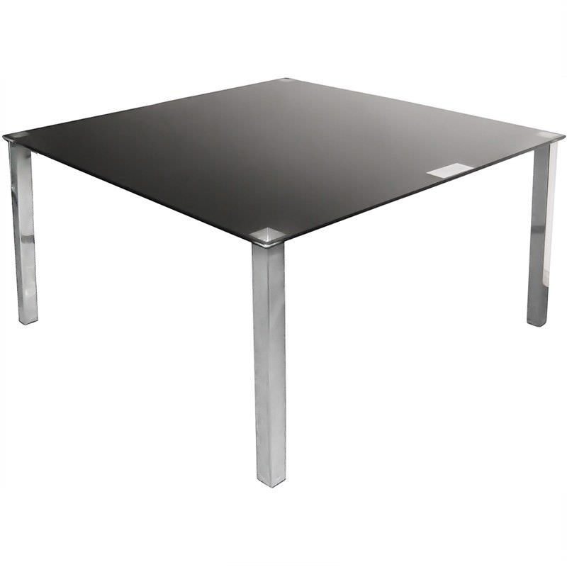 Kimbrell 140cm Glass Top Square Dining Table - Black