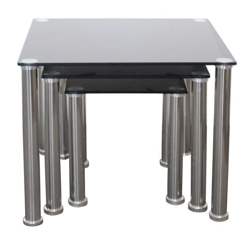 Galindo 3 Piece Metal and Glass Nested Table Set - Black