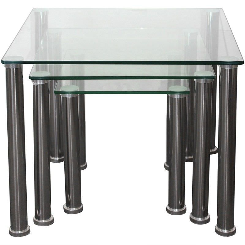 Galindo 3 Piece Metal and Glass Nested Table Set - Clear