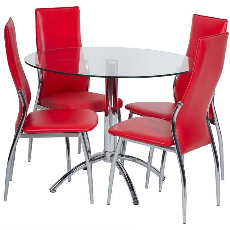 Macaulay 5 Piece Dining Set with Red Lombardy chair Chairs