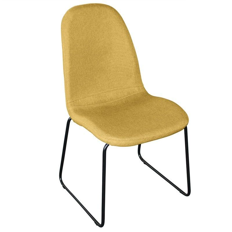 Zelfa Fabric Upholstered Matal Dining Chair, Yellow