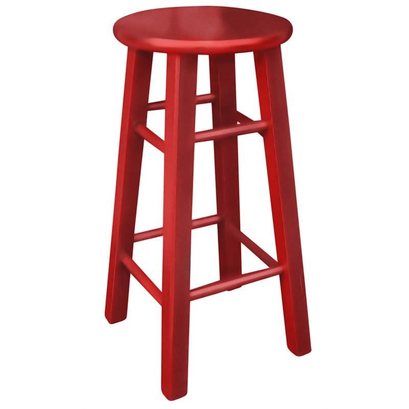 Mikko Solid Painted Timber Bar Stool, Red