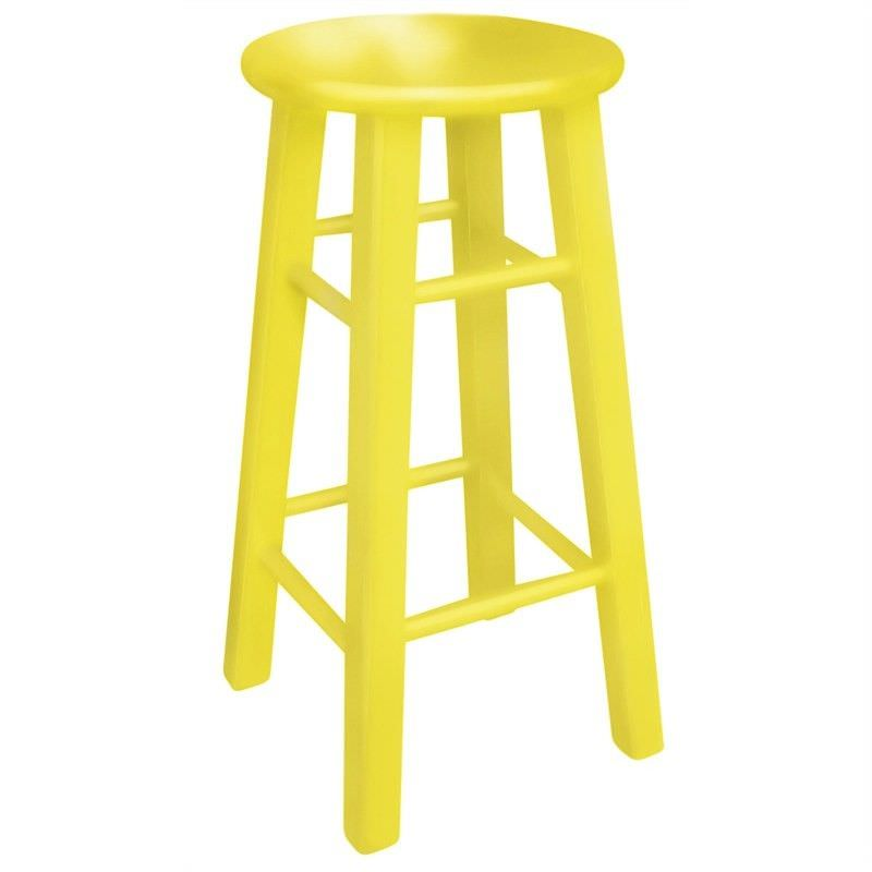 Mikko Solid Painted Timber Bar Stool, Yellow