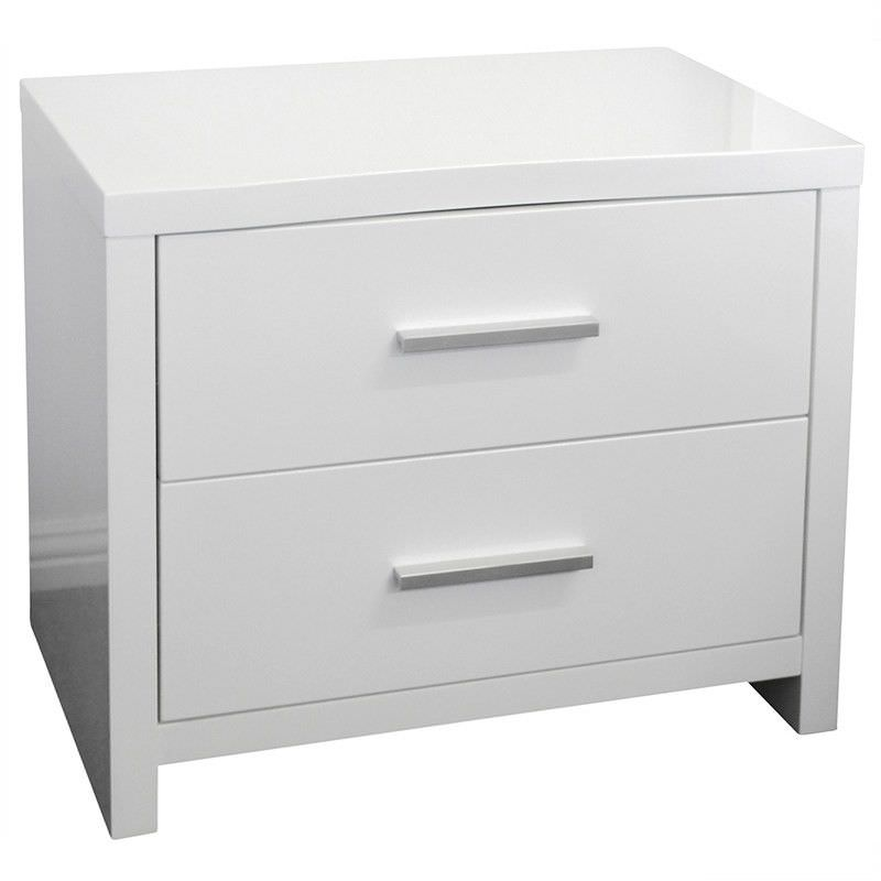 Makenzie Wooden Bedside Table - Glossy White