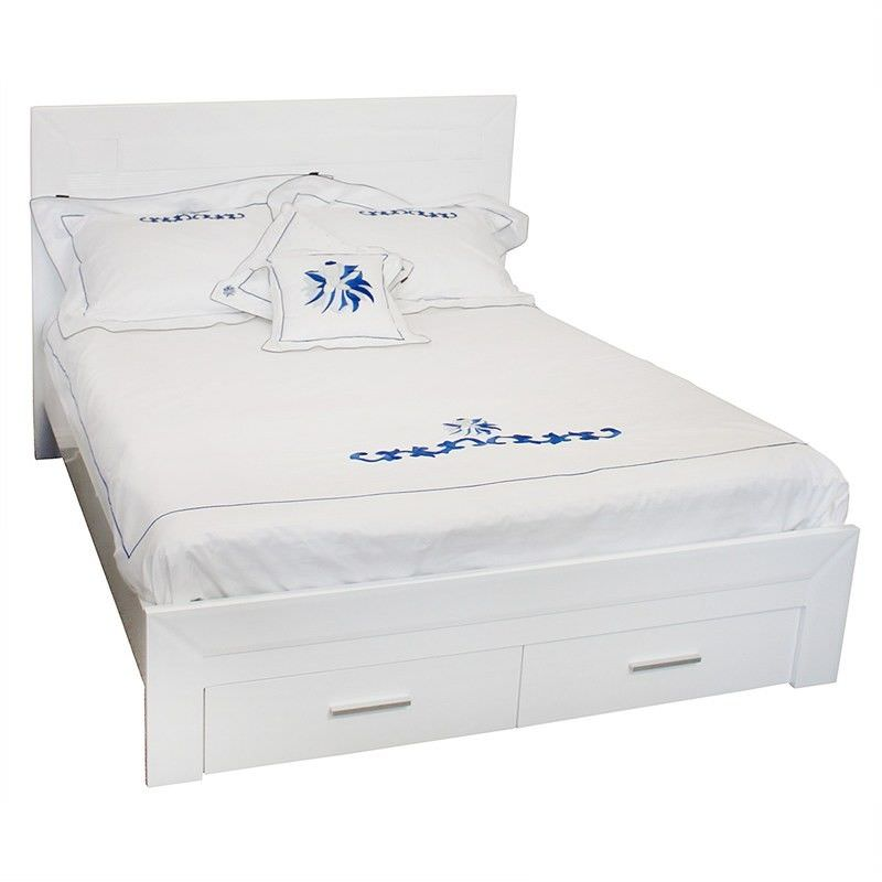 Makenzie Wooden Double Bed with Drawer - Glossy White