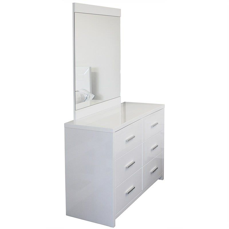 Makenzie Wooden 6 Drawer Dressing Table with Mirror - Glossy White