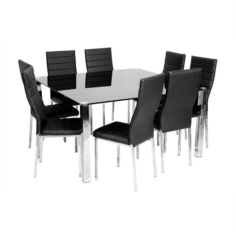 Nakia 9 Piece 140cm Square Dining Set - Black