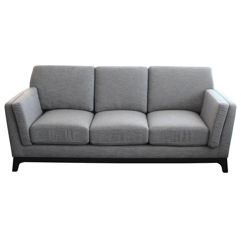 Rocko Fabric 3 Seater Sofa - Light Charcoal