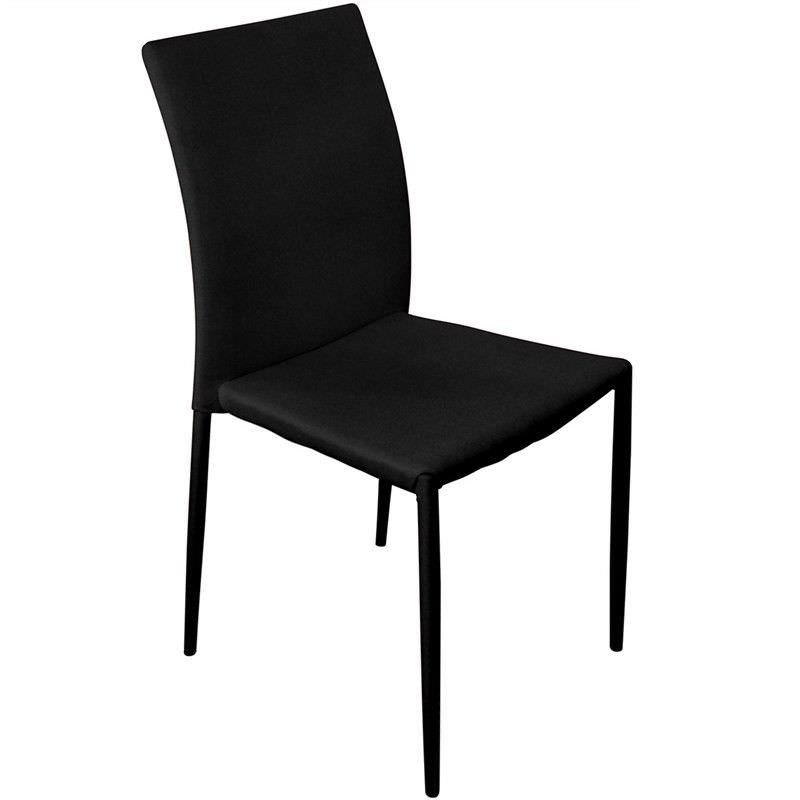 Sykes Fabric Upholstered Steel Dining Chair - Black