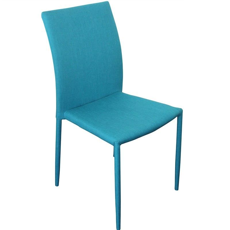 Sykes Fabric Upholstered Steel Dining Chair - Teal