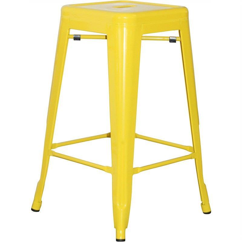 Toliver Replica Tolix 65cm Metal Stool - Yellow