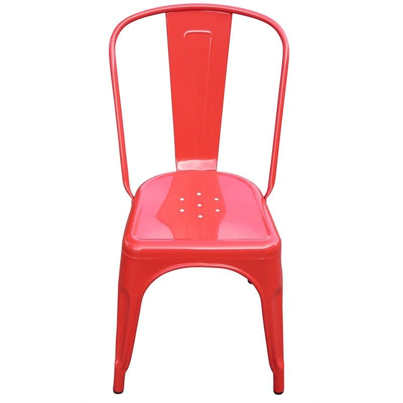 Toliver Commercial Grade Replica Tolix Metal Chair -Red