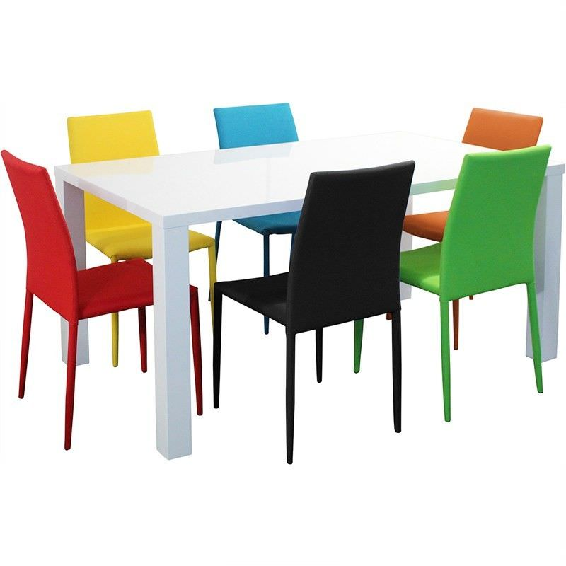 Whitney 7 Piece Dining Set with Assorted Colour Sven Chairs