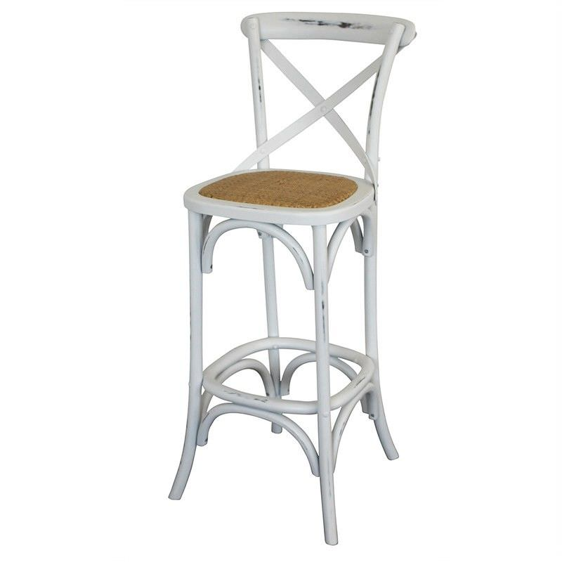 Orlando Solid Timber Bar Chair with Rattan Seat, Distressed White