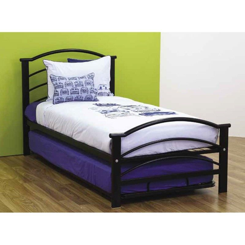 Buddy Metal Bed with Single Trundle, Single, Black