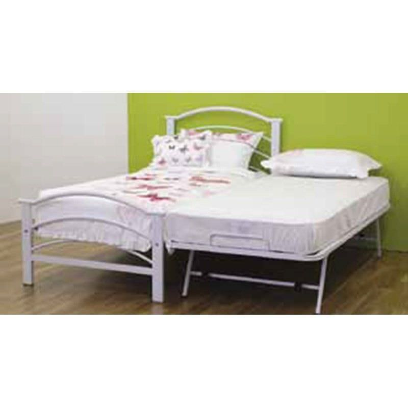 Buddy Metal Bed with Single Trundle, Single, White