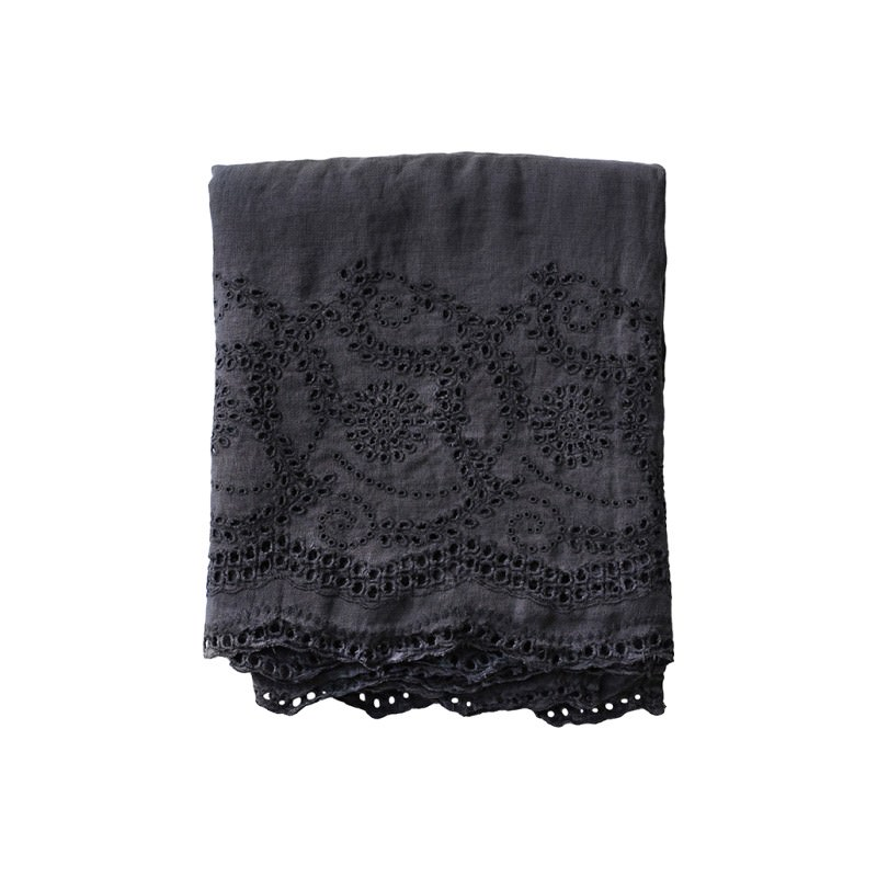 Jerome Lace Embroidered Linen Tablecloth, 130x170cm