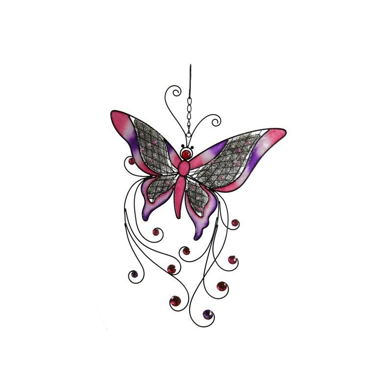 Butterfly With Mesh and Beads Decor Wall Art