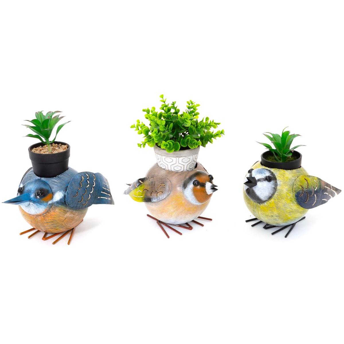 Quirky 3 Piece Metal Bird Planter Set