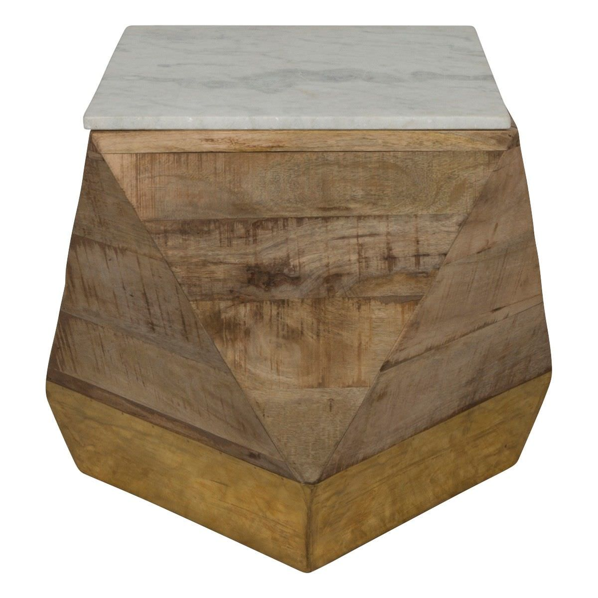 Geo Marble & Timber Side Table