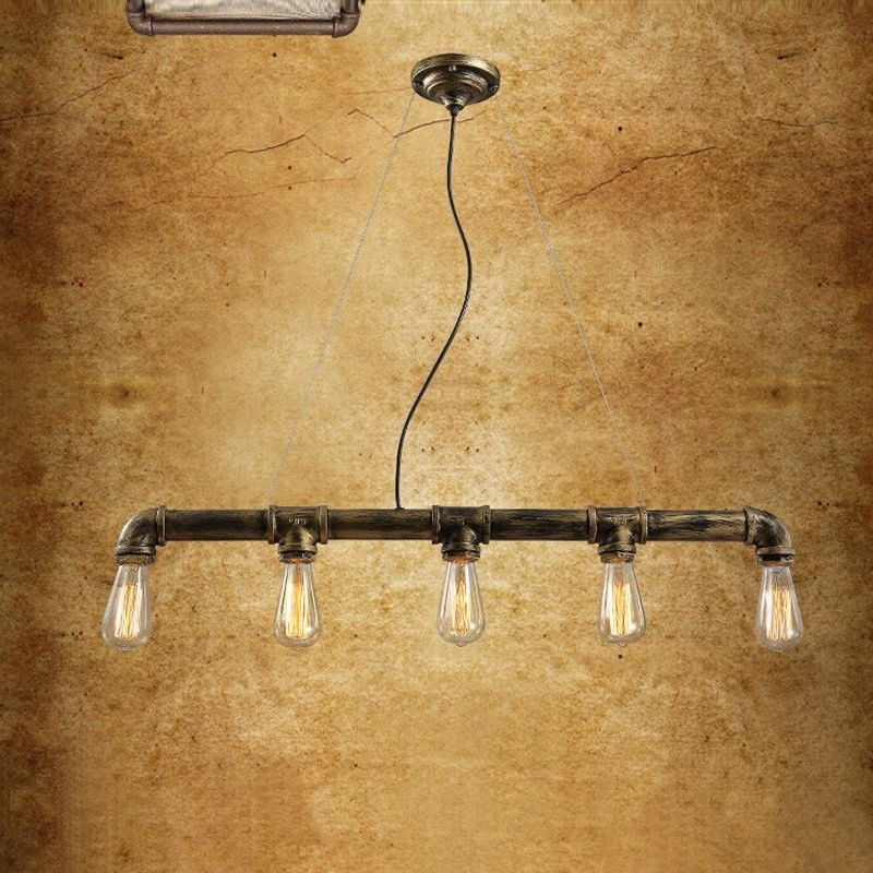 Dirk Industrial Straight Iron Pipe Pendant Light - Brushed Bronze