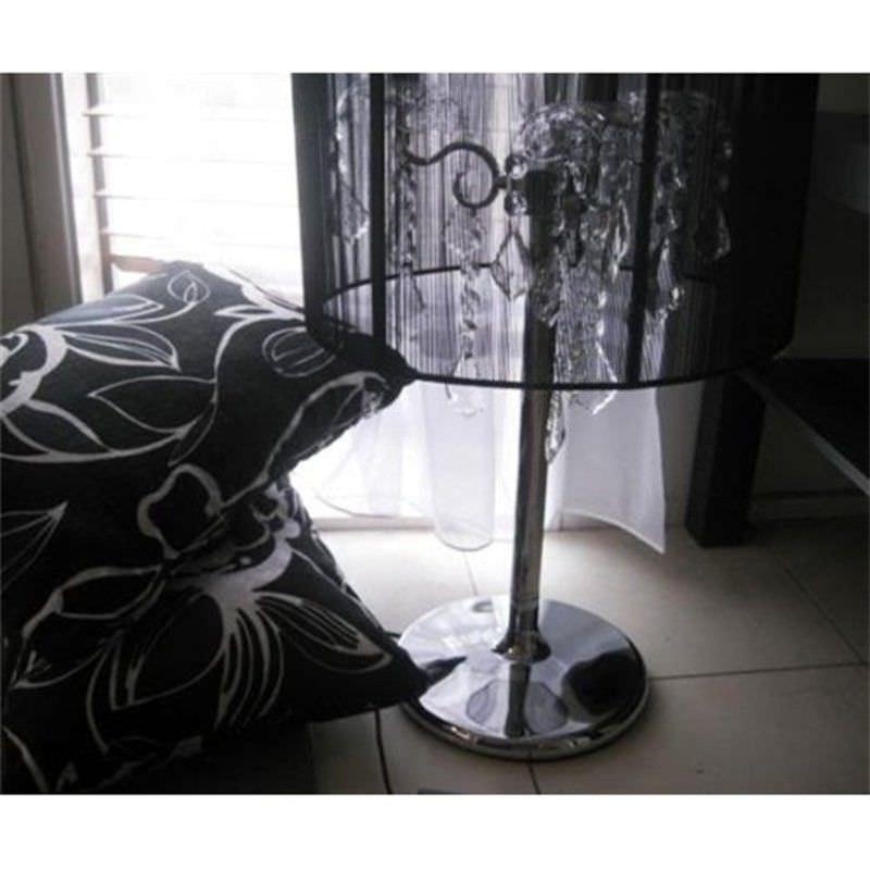 Modern Crystal Chandelier Desk Lamp in Black