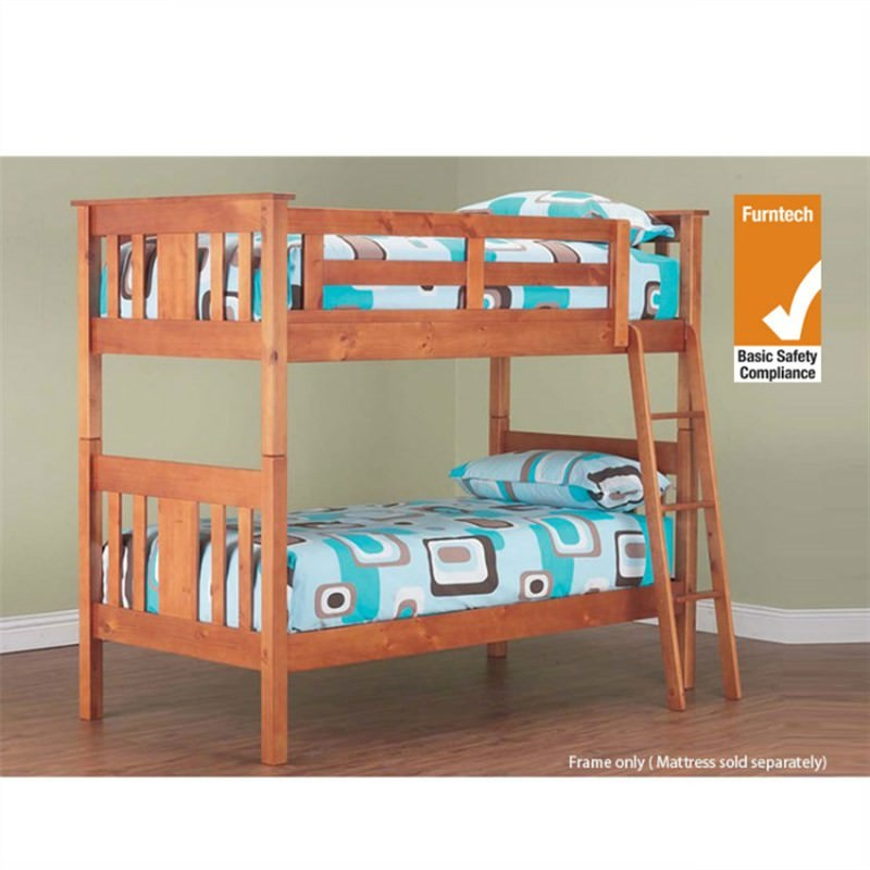 Bowen Solid Pine Timber King Single Bunk Bed - Teak Stain