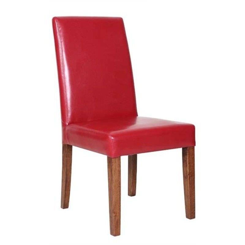 Gothenburg PU Dining Chair with Light Honey Legs - Red