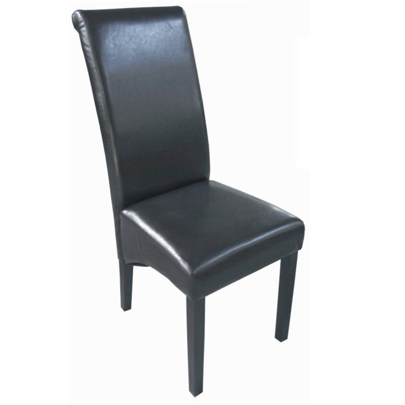 Lima PU Leather Dining Chair with Dark Legs - Brown