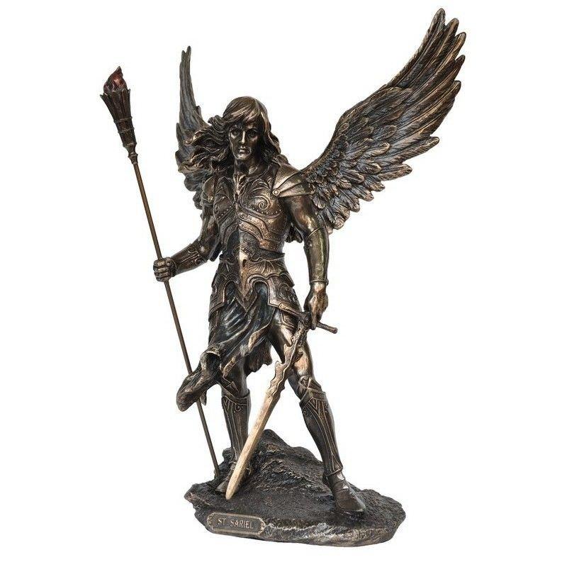 Veronese Cold Cast Bronze Coated Angel Figurine, Sariel