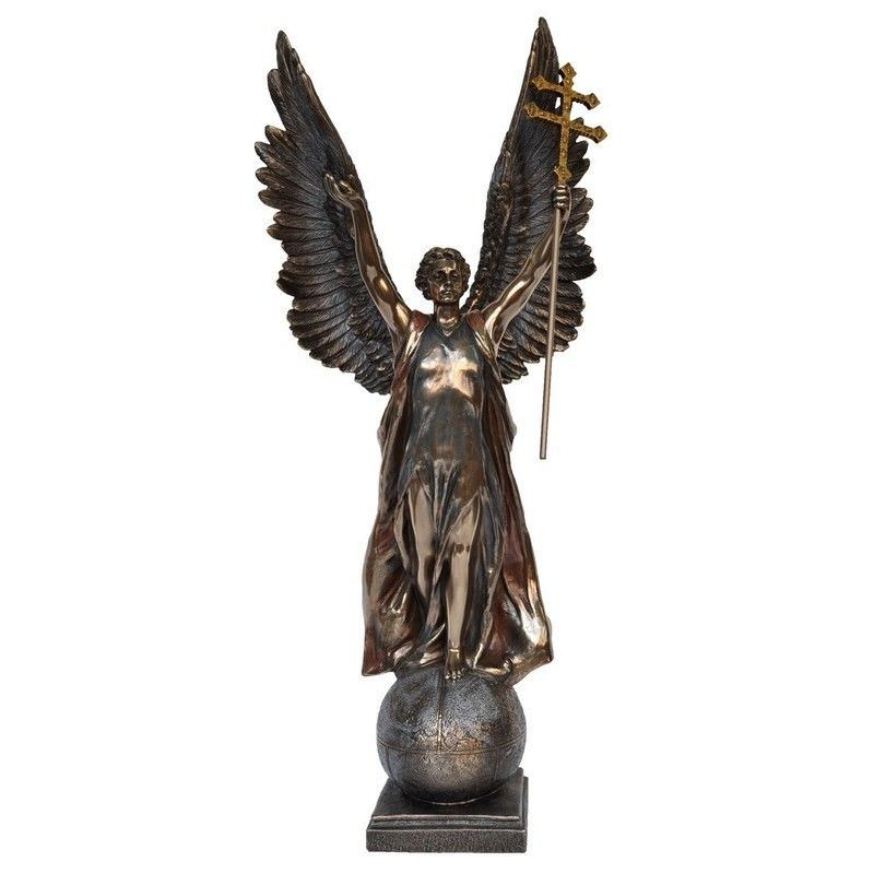 Cast Bronze Angel Figurine, Gabriel on Sphere