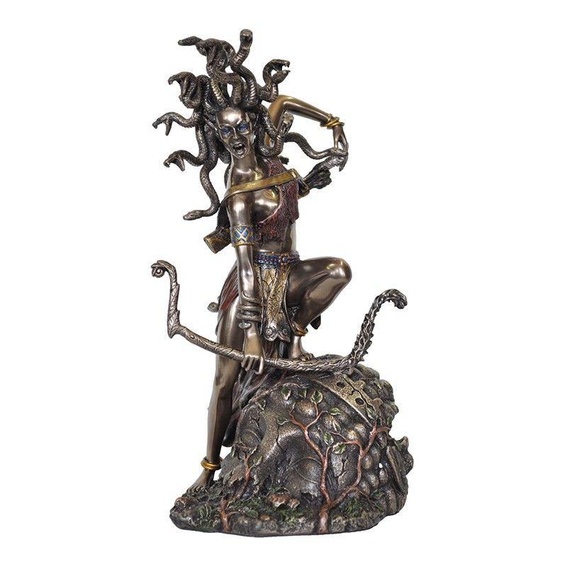 Veronese Cold Cast Bronze Coated Greek Mythology Figurine, Medusa with Bow