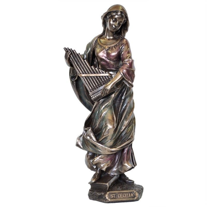 Veronese Cold Cast Bronze Coated Figurine, St. Cecilia