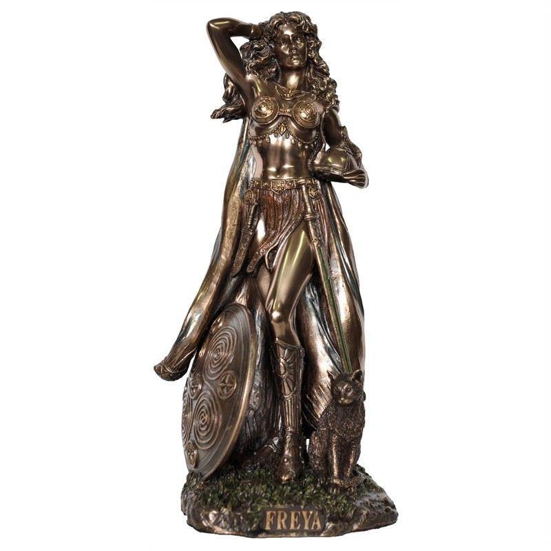Veronese Cold Cast Bronze Coated Norse Mythology Figurine, Freya