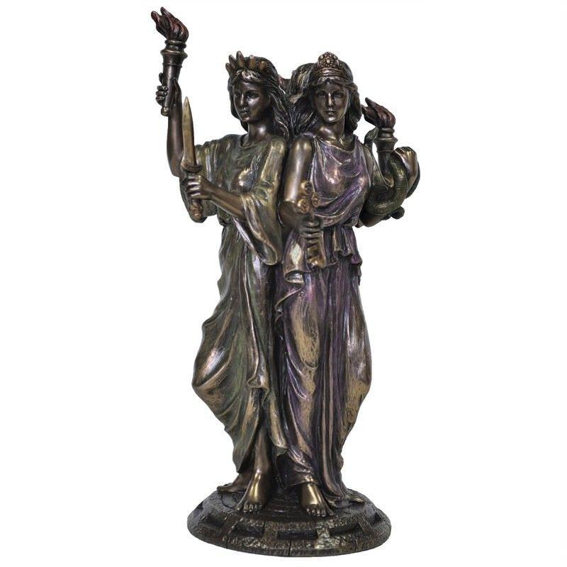 Veronese Cold Cast Bronze Coated Greek Mythology Figurine, Hekate