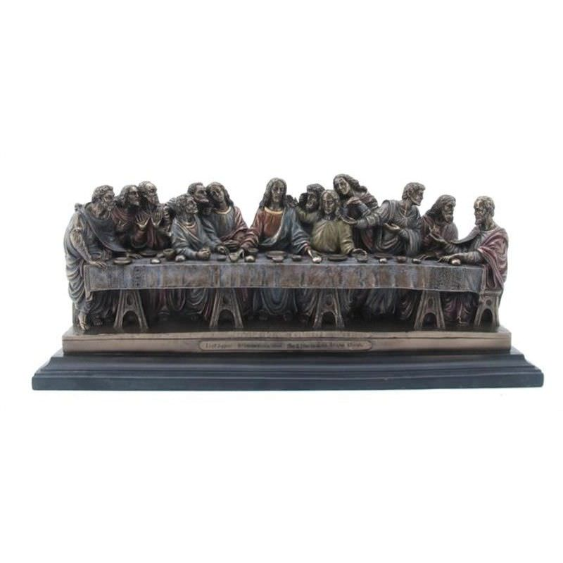 Veronese Cold Cast Bronze Coated Figurine, Leonardo Da Vinci's Last Supper, Small