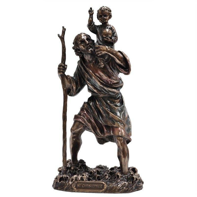 Veronese Cold Cast Bronze Coated Figurine, St. Christopher