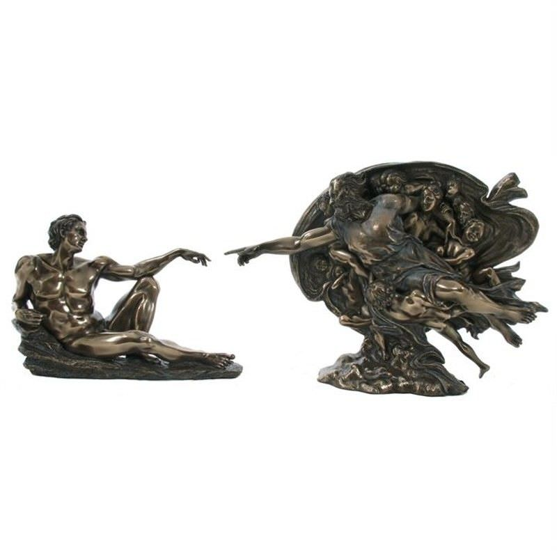 Veronese Cold Cast Bronze Coated Figurine, Michelangelo's Creation of Adam