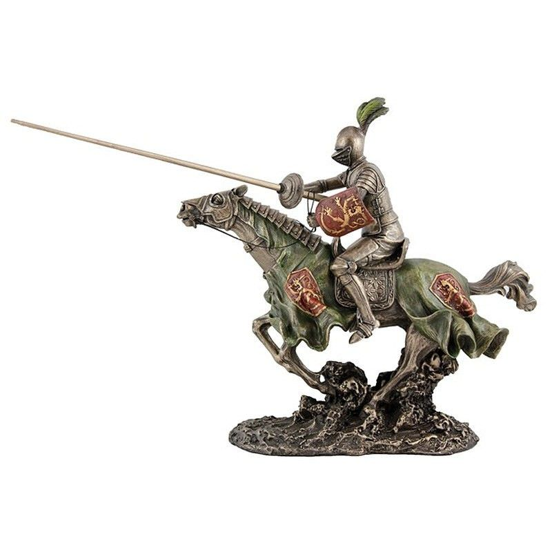 Veronese Cold Cast Bronze Coated Medieval Knight Figurine, Jousting