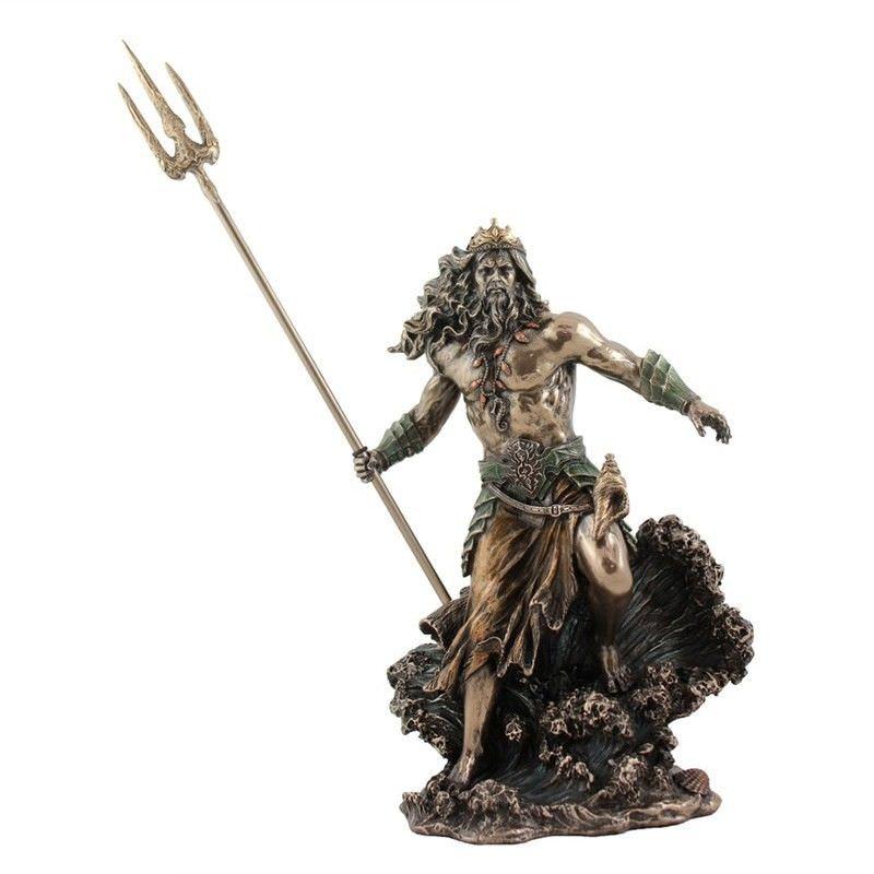 Cast bronze greek mythology figurine poseidon holding trident