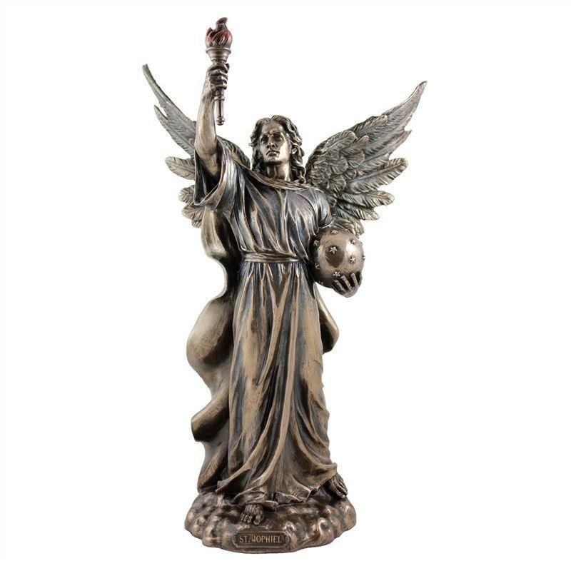 Veronese Cold Cast Bronze Coated Angel Figurine, Jophiel