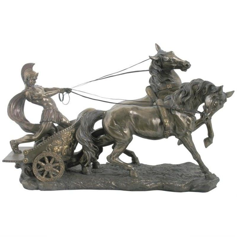 Veronese Cold Cast Bronze Coated Roman Chariot Statue, Large