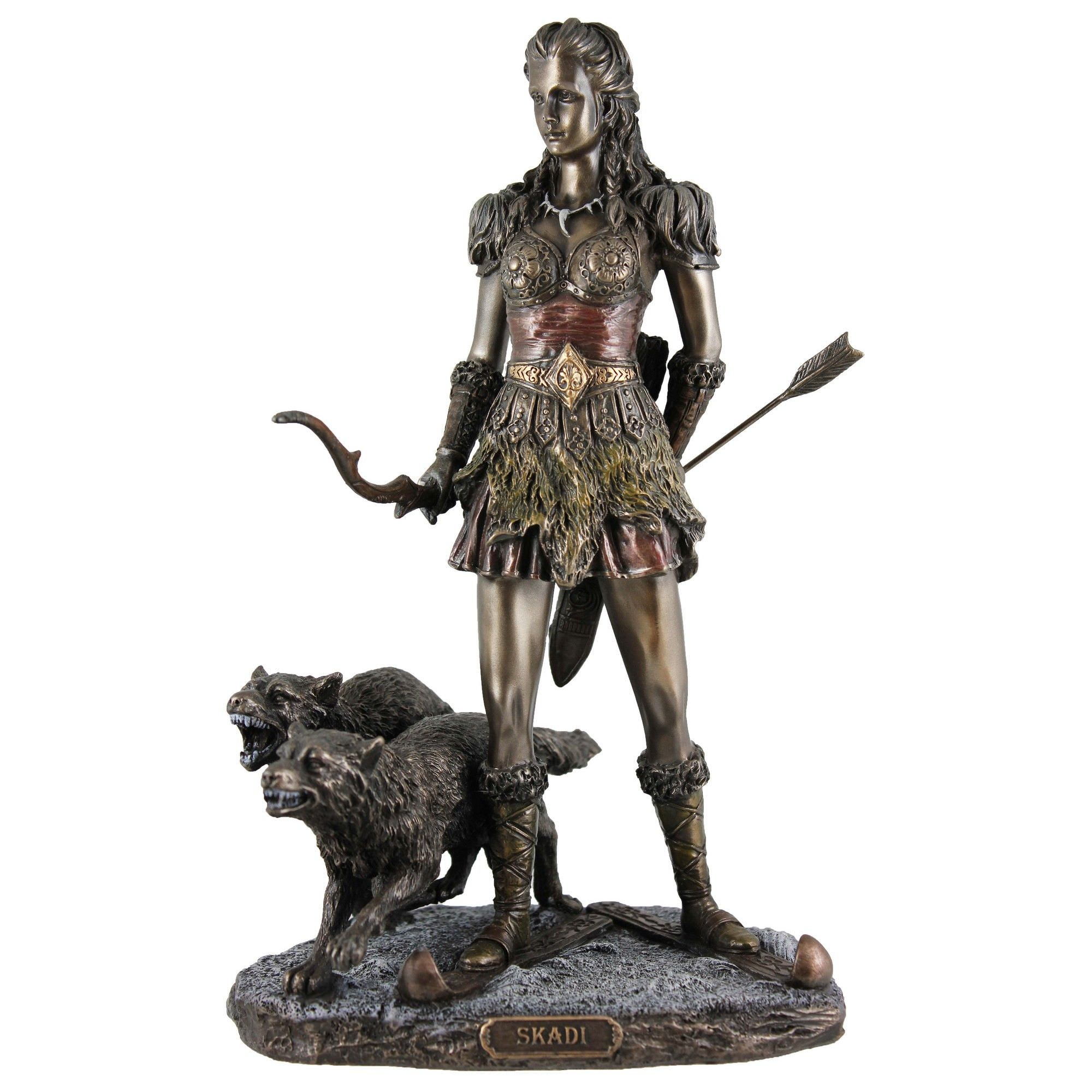 Veronese Cold Cast Bronze Coated Norse Mythology Figurine, Skadi - Goddess of Winter