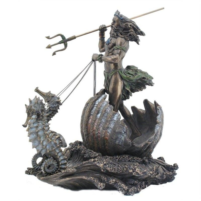 Cast Bronze Greek Mythology Figurine, Poseidon Riding Sea Chariot