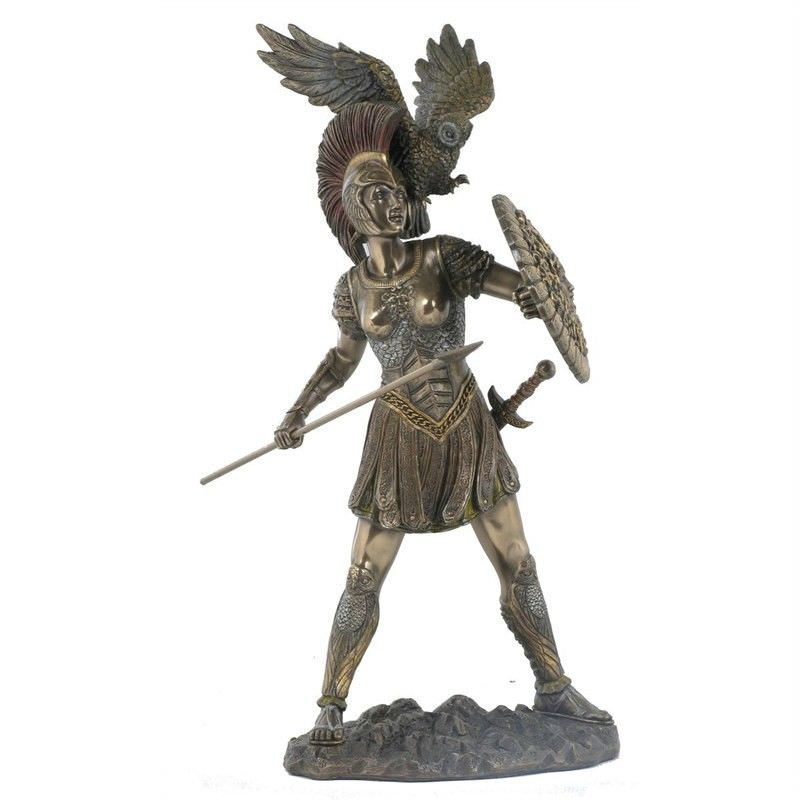Cast Bronze Greek Mythology Figurine, Athena