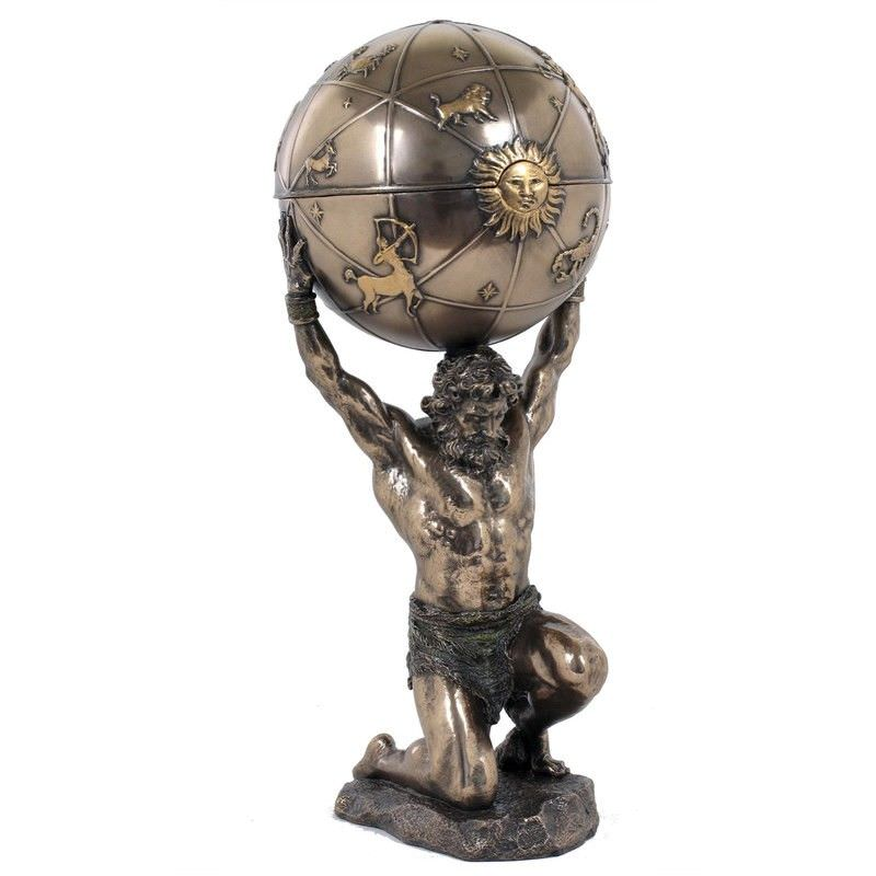 Cast Bronze Atlas Trinket Box