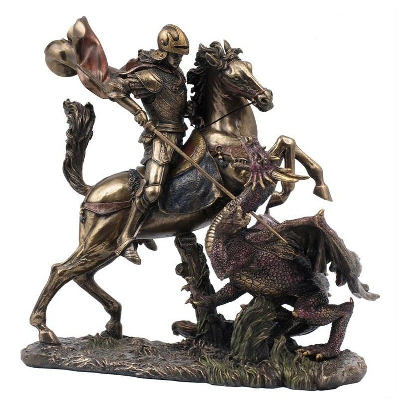 Cast Bronze Figurine of Saint George Slaying the Dragon
